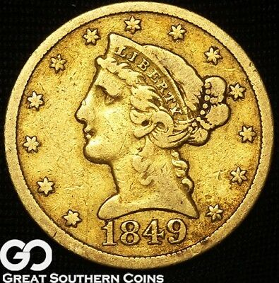 1849-C Half Eagle, $5 Gold Liberty, Avidly Pursued Charlotte Key Date, Free S/H!