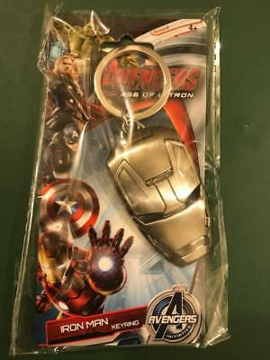 Marvel Avengers Age of Ultron Iron Man Head Pewter Key Ring Key Chain NEW