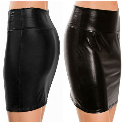 Women High Waist Leather Tight-fitting Hip Mini Skirt Party Clubwear Short Dress
