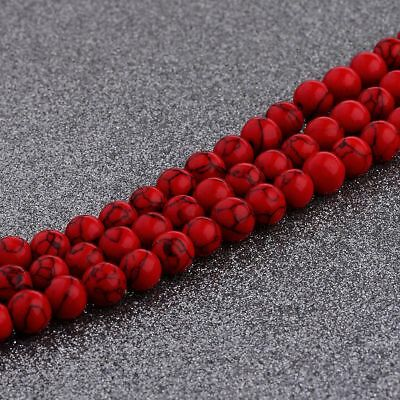 """Natural Stone Red Turquoise Gemstone Round Spacer Loose Beads 6mm 8mm 10mm 16"""""""