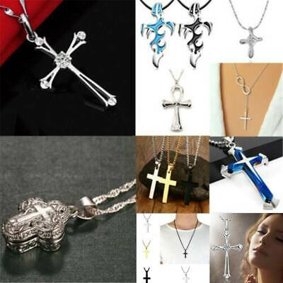 Fashion Unisex 925 Silver Stainless Steel Cross Pendant Chain Necklace Jewelry