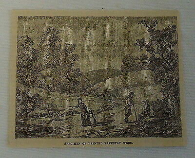 small 1882 magazine engraving ~ Specimen of PAINTED TAPESTRY, people in valley