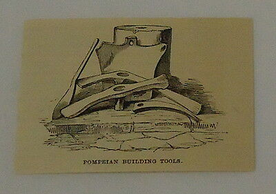 1887 small magazine engraving ~ POMPEIAN BUILDING TOOLS