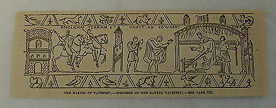 small 1882 magazine engraving ~ Specimen of BAYEUX TAPESTRY