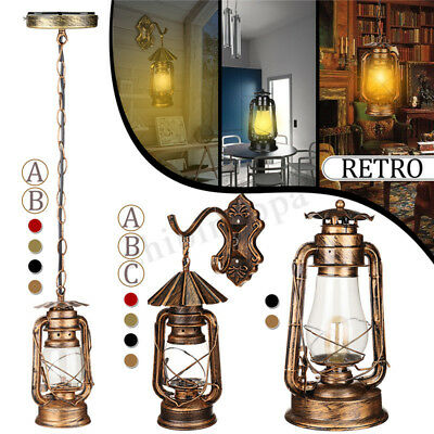 Antique Vintage Rustic Glass Wall Sconce Light Lamp Fixture  Lantern Outdoor