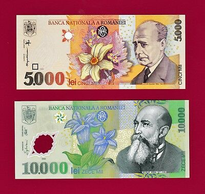BEAUTIFUL LOT OF TWO ROMANIAN UNC NOTES - 5000 Lei 1998 & 10000 Lei 2000 Polymer