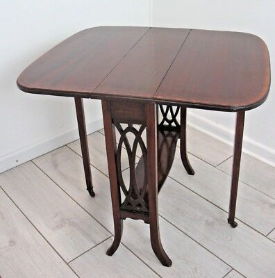 Antique Victorian Edwardian Sutherland Drop Leaf Table Flame Mahogany + inlay
