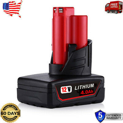 12VOLT Replace Li-ion Battery For Milwaukee M12 48-11-2460 48-11-2440 4.0Ah tool