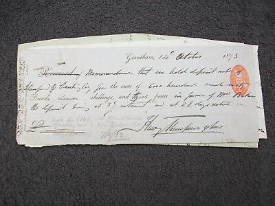 1893, Promissory Note+Letter Etc: Stamford Banking Co. Grantham, Lincolnshire