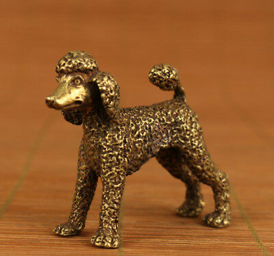 Rare Chinese Old Bronze Hand Carved toy poodle Statue collectabl decoration