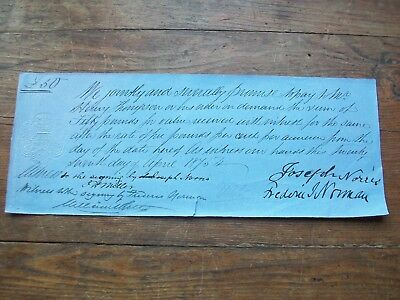 1875, Promissory Note: £50, J.norris & F.j.norman. Bottesford, Leicestershire