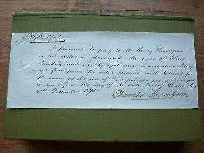 1875, Promissory Note: Charles Thompson. Maltster?, Grantham, Lincolnshire.
