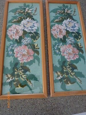 Old Matched Pair Framed Handmade Needlepoint Tapestry floral panels