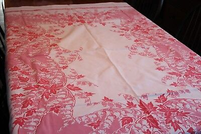 Vintage Cotton Kitchen Tablecloth 58x70 Gorgeous Shades of Pink Flowers & Leaves