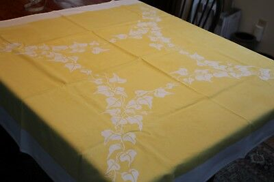 Vintage Cotton Kitchen Tablecloth 46x52 Vines on Sunny Yellow