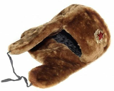 Authentic Russian Military Camel Brown Ushanka Hat Soviet Army Badge Size 62 XL