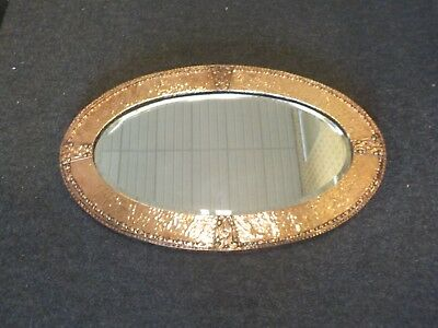 Antique Art & Craft Copper Bevelled Mirror Oval Shaped Mirror