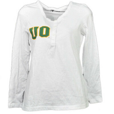 NCAA Oregon Canards Blanc Femmes Adulte Manches Longues T-Shirt Bouton Col Rond
