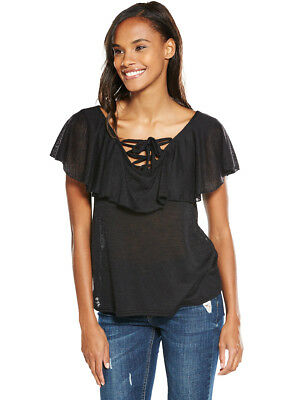 V by Very Frill Tie Up Front Top in Black Size 16