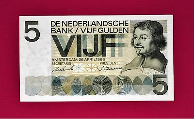 RARE (GEM-UNC Condition) 5 Gulden 1966 Netherlands Note (P-90a) Very Collectible