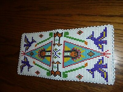 Native American Beaded Wallet Billfold Very Good Vintage Condition