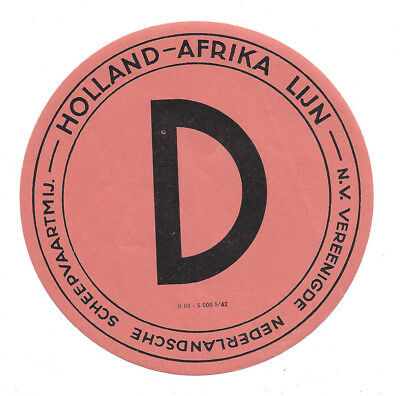 KNSM Shipping Holland - Africa Line Baggage Label c1950s