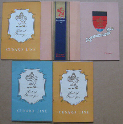 RMS Queen Elizabeth Cunard Cruise Ship Job Lot of 5 x Passenger Lists 1948-1960