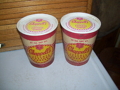 Two Chappell's Cottage Cheese Containers With Lids-Campbellsville,kentucky-Ky.