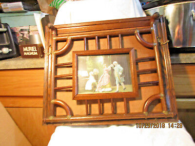 ANTIQUE VICTORIAN OAK STICK AND BALL WALL HANGING MAGAZINE MUSIC RACK-Bentwood