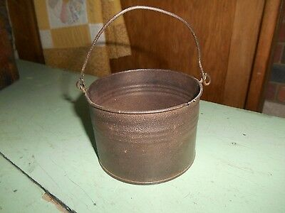 Old Vintage Antique Prim Metal Tin Child's Berry Bucket Pail with Bale Handle