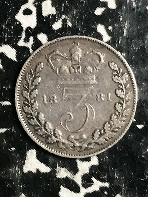 1881 Great Britain 3 Pence Threepence Lot#X9966 Silver!