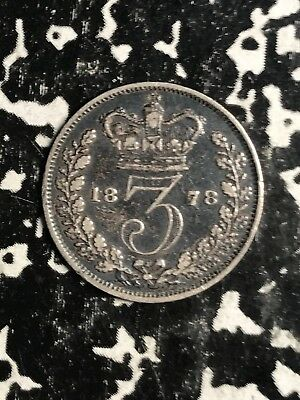 1878 Great Britain 3 Pence Threepence Lot#X9969 Silver!