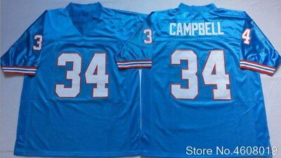 b57673e75 Mens Throwback #34 Earl Campbell Embroidered Retro star FOOTBALL JERSEY  free shi
