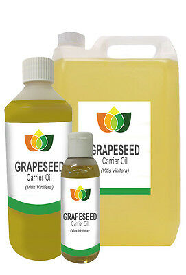 Grapeseed Oil Pure Natural  Base Carrier Massage Oil 10ml - 5l