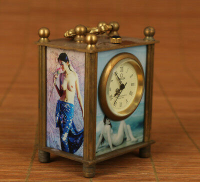 Rare Old copper Handmade Machinery Statue pocket watch clock Home decoration