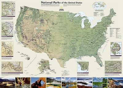 United States National Parks, Tubed: Wall Maps History & Nature by National...