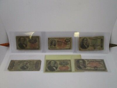 U.S. Rare Fractional Notes 15¢, 25¢, 50¢ Average Circulated Lot of 6