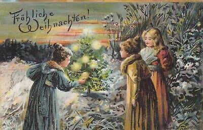 O. Huber Three girls find lit Christmas tree in the wood Early PC