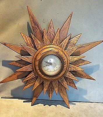 "1930's Wooden ""Record"" Sunburst Wall Clock.  VGC. Working"