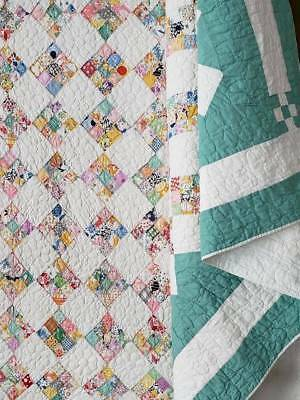 """Wow! Vintage Green & White Postage Stamp QUILT 95x80"""""""