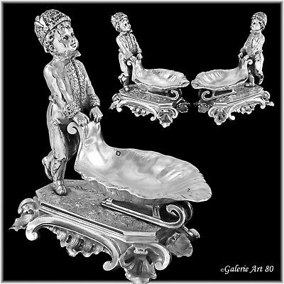Unique Pair Large Antique French Sterling Silver Figural Salt Cellars SLEIGHS