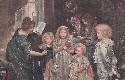Children sing around the piano with mother. C.W. Faulkner