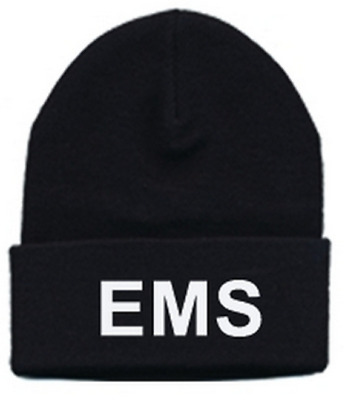 EMS White Letters on Black Knit Watch Cap