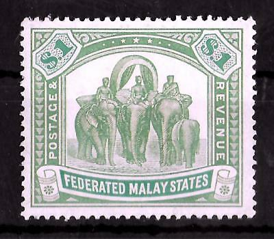 FEDERATED MALAY STATES 1922-1934 Mint NH Elephant $1 SG #76