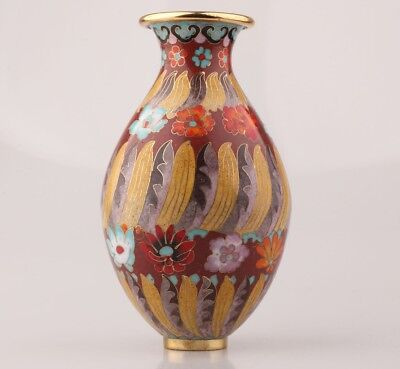 Antique Chinese Cloisonne Enamel Vases Old Handmade Decoration Only One Collec
