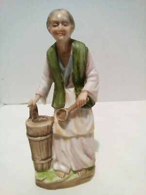 Napco C-6140 Porcelain Bisque Figurine Asian Old Woman Made in Japan