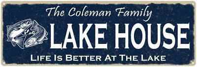 The COLEMAN Family Lake House Sign Metal Fishing Cabin Decor 106180101102
