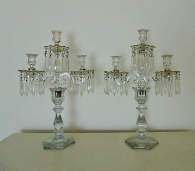 Antique Heisey Candelabra Glass Candle Holders w/ Prisms Lusters Pair