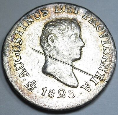 1823 JM AU D. Mexico EMPIRE OF ITURBIDE 1/2 Real Silver Spanish Half Reales Coin