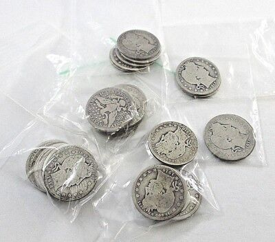Lot of 29 U.S. Barber Quarters 25¢ Coins 1909 - 1916 Not All Dates Included